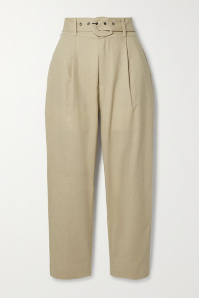 Anine Bing - Elyse Belted Linen And Cotton-blend Straight-leg Pants - Beige