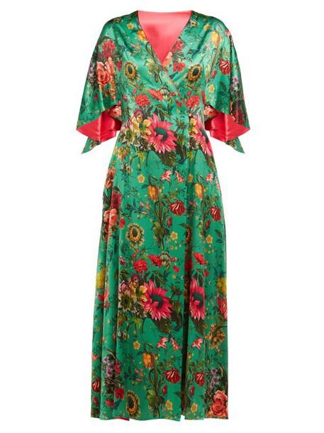 Adriana Iglesias - Floral Print Flared Sleeve Silk Blend Dress - Womens - Green Multi