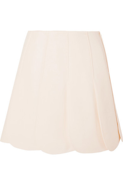 Valentino - Scalloped Wool And Silk-blend Grain De Poudre Mini Skirt - Ivory