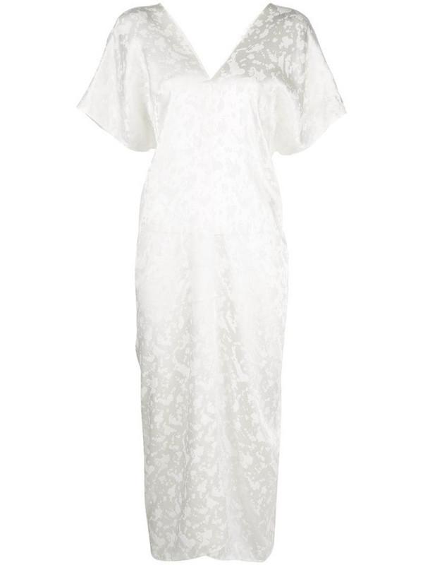 VOZ short-sleeve midi dress in white