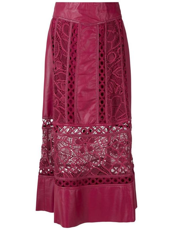 Martha Medeiros Dona leather midi skirt in red