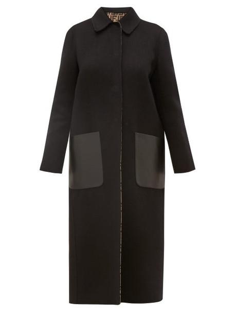 Fendi - Reversible Ff Print Wool Blend Coat - Womens - Black Multi