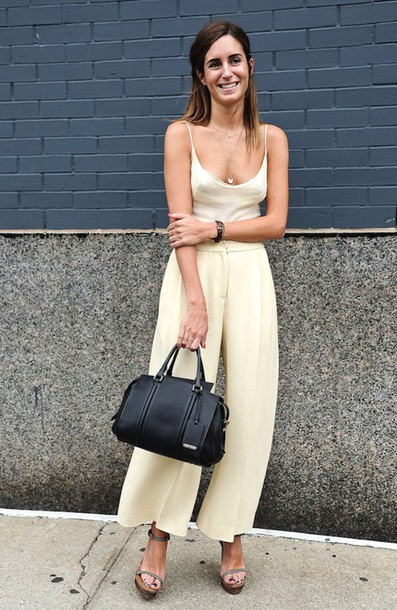 le fashion image blogger bag shoes jumpsuit white jumpsuit black bag white pants