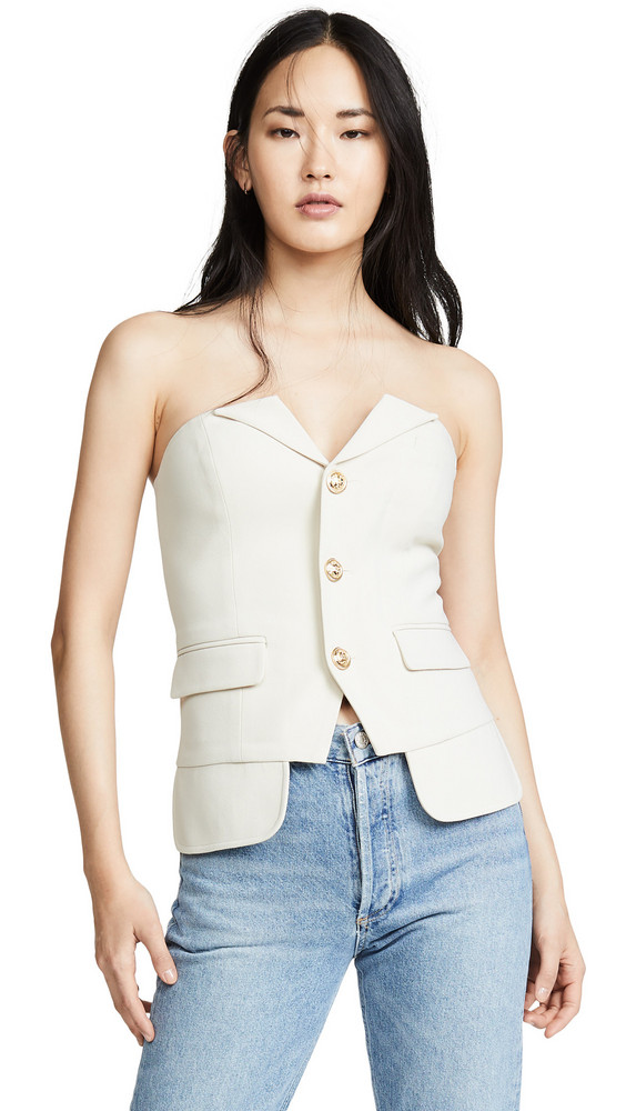 LAVEER Button Up Bustier Top in ivory