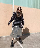 skirt,midi skirt,metallic,silver,ankle boots,black boots,black jacket,black top,black bag