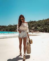 top,white top,crop tops,off the shoulder,denim shorts,High waisted shorts,sandals,maxi bag,felt hat