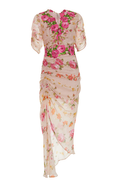 Blumarine Floral Draped Dress in pink