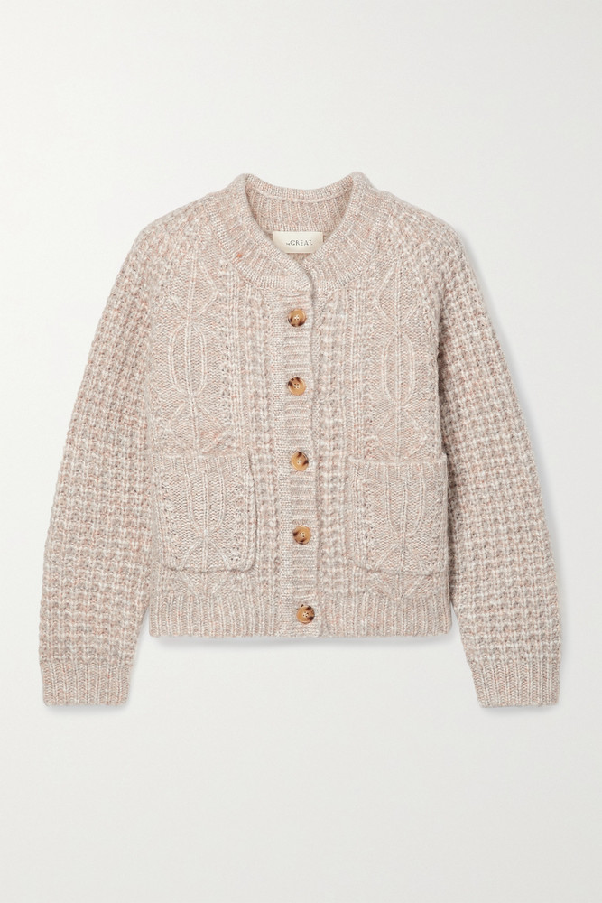 THE GREAT. THE GREAT. - The Shrunken Mélange Cable-knit Cardigan - Pink