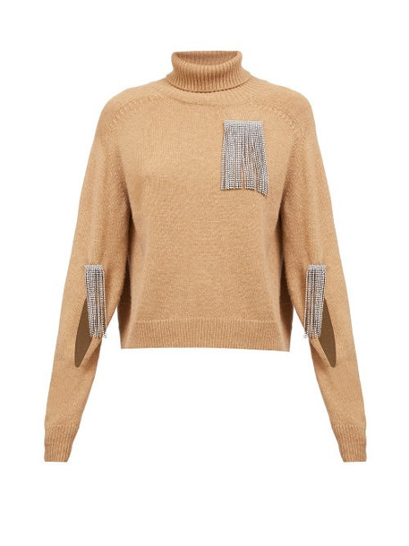 Christopher Kane - Crystal-tassel Cut-out Cashmere Sweater - Womens - Camel