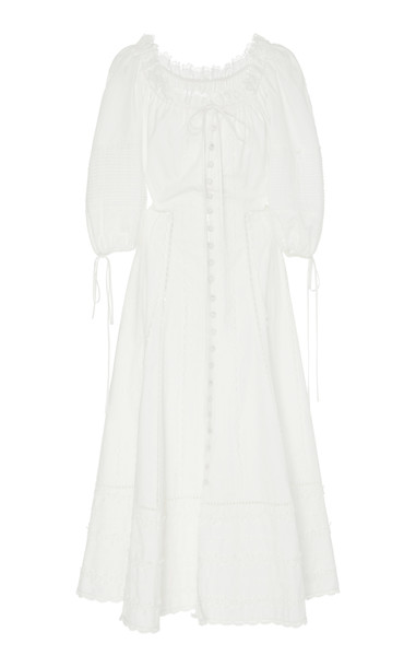 Jonathan Simkhai Lace-Trim Cotton-Poplin Dress in white