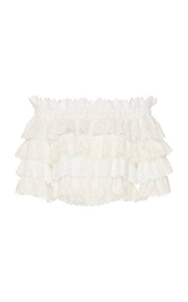 Dolce & Gabbana Tiered Ruffle Off-The-Shoulder Lace Top in white