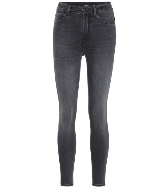 7 For All Mankind High-rise skinny jeans in black