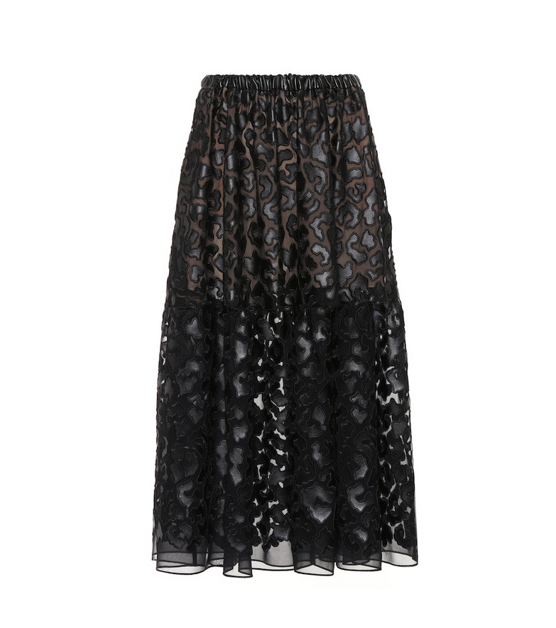 Stella McCartney Faux leather embroidered midi skirt in black