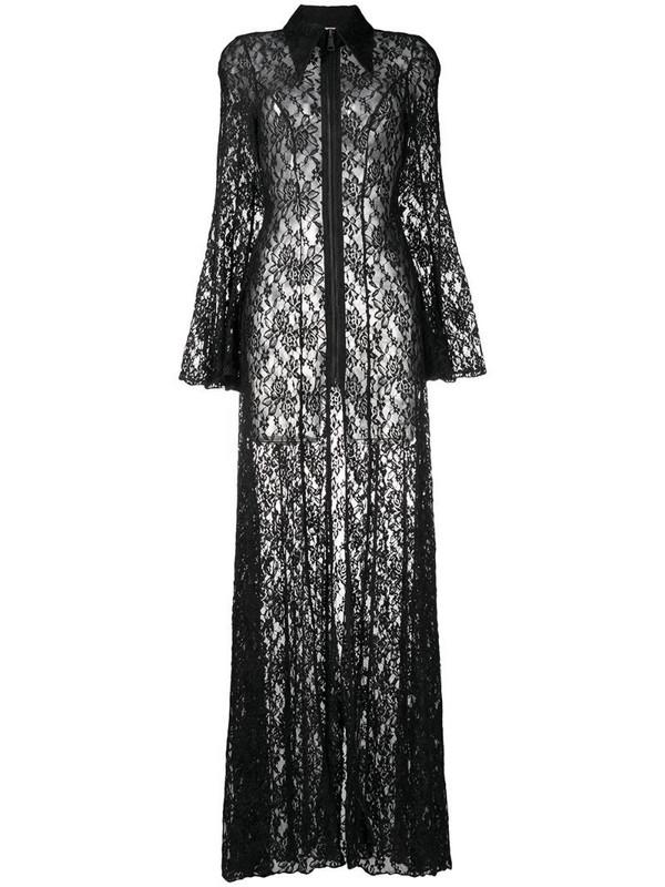 Natasha Zinko floral-lace zip-up maxi dress in black