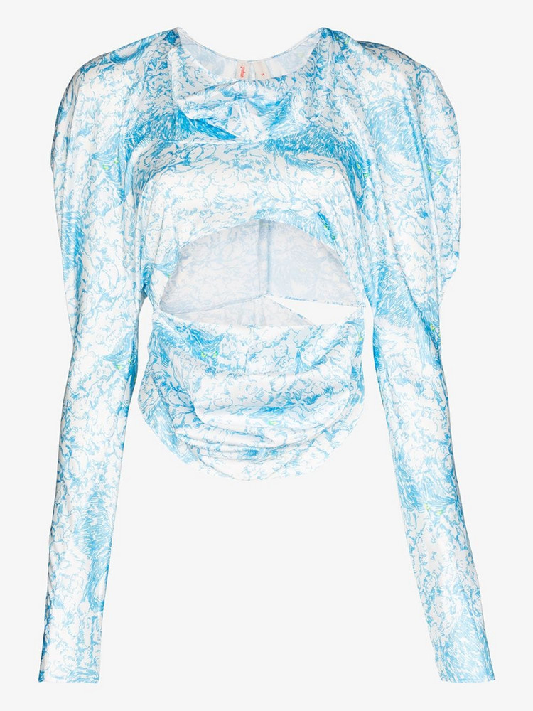yuhan wang kitty long sleeve top in blue