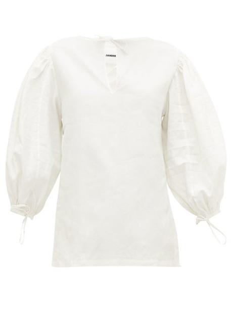 Jil Sander - Puff Sleeves Linen Blouse - Womens - Ivory