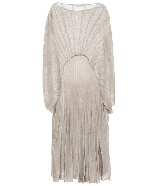 Stella McCartney Lurex® knit midi dress in beige