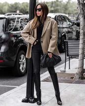 shoes,knee high boots,black boots,black jeans,blazer,black sweater