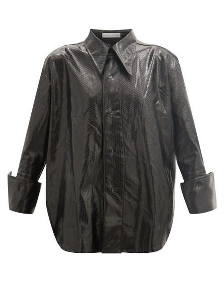 Palmer/harding Palmer//harding - Marcai Spearpoint-collar Faux-leather Shirt - Womens - Black