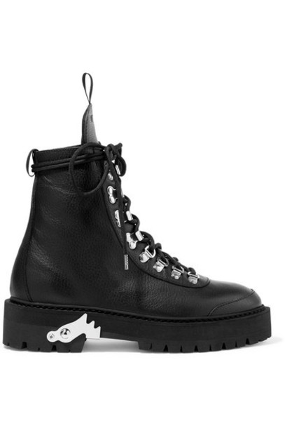 Off-White - Hiking Textured-leather Ankle Boots - Black