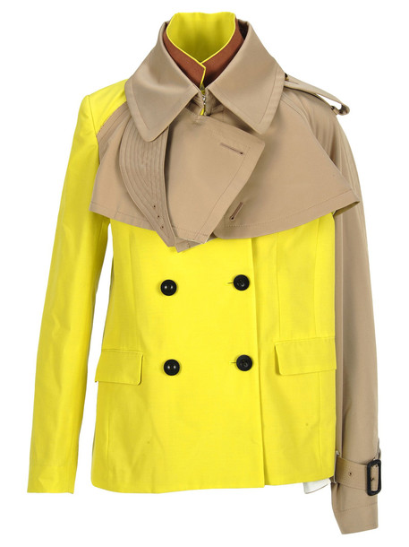Sacai Jacket Trench in yellow / beige