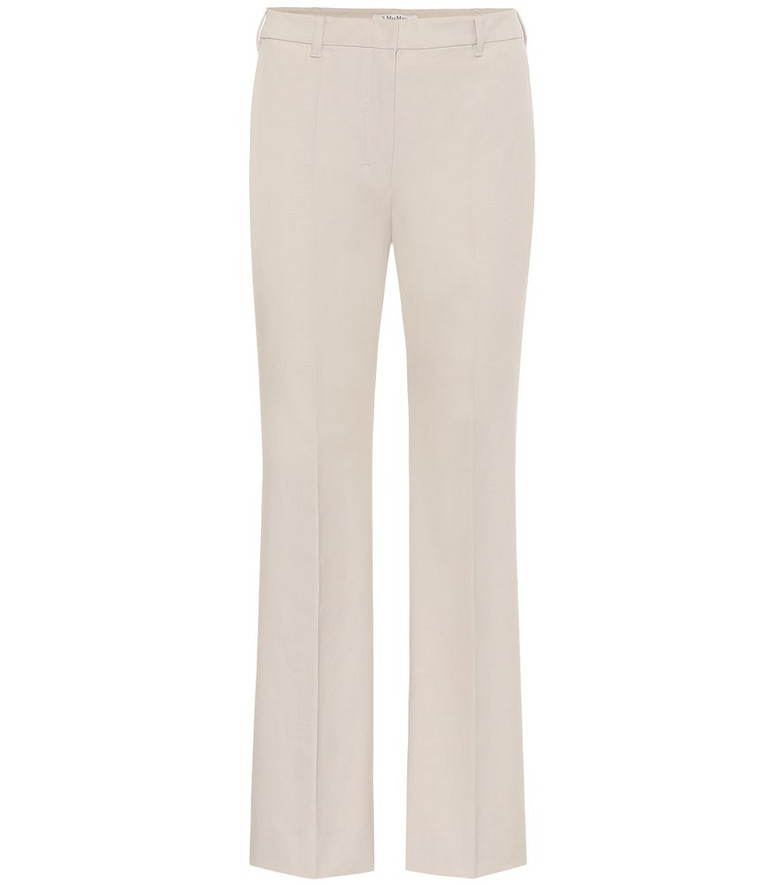 S Max Mara Tebano stretch-cotton pants in beige