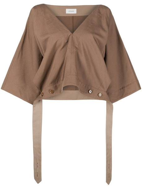 Lemaire tie waist cropped blouse in brown