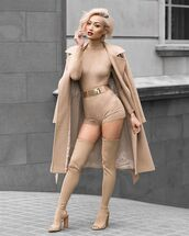 romper,nude,high waistes,tight,belted,short,high neck,micah gianneli,long sleeves,turtleneck