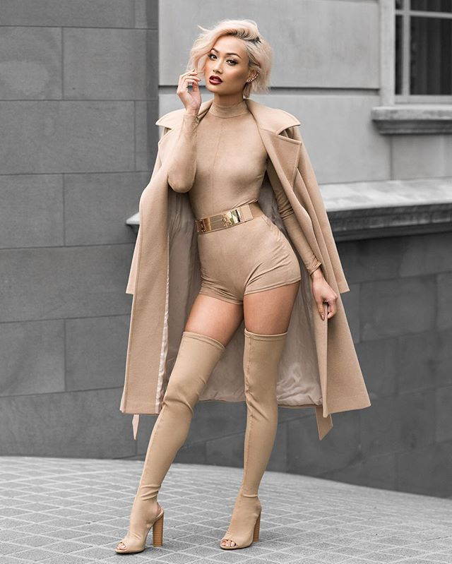 romper nude high waistes tight belted short high neck micah gianneli long sleeves turtleneck