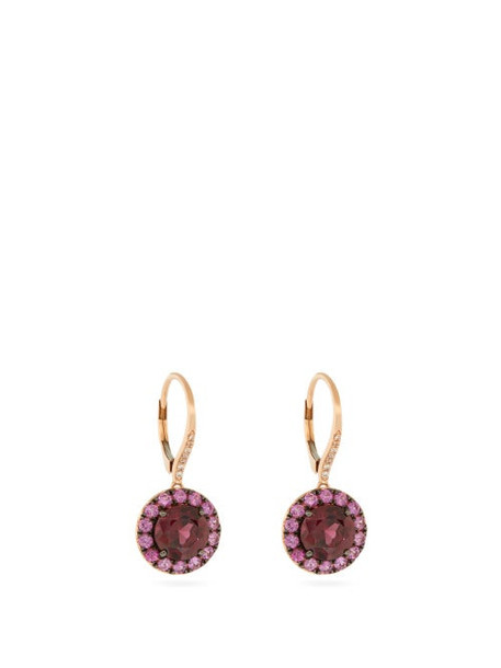 Rosa De La Cruz - Garnet, Pink Sapphire & 18kt Rose Gold Earrings - Womens - Pink Multi