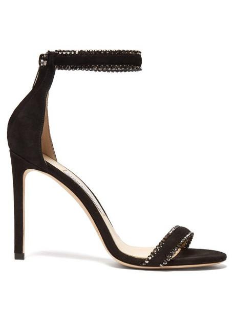 Jimmy Choo - Dochas 100 Crystal Embellished Suede Sandals - Womens - Black