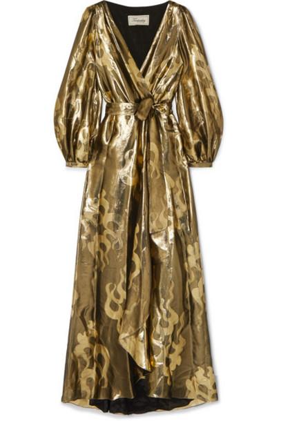 Temperley London - Eda Wrap-effect Silk And Lurex-blend Jacquard Dress - Gold