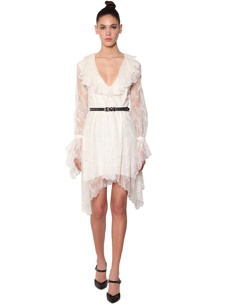 PHILOSOPHY DI LORENZO SERAFINI Ruffled Lace Dress in ivory