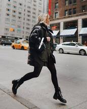 bag,black bag,handbag,rebecca minkoff,black boots,ankle boots,lace up boots,tights,puffer jacket