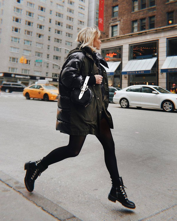 bag black bag handbag rebecca minkoff black boots ankle boots lace up boots tights puffer jacket