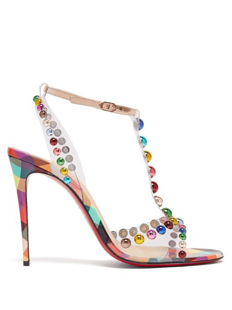 Christian Louboutin - Faridaravie 100 Studded Checked Leather Sandals - Womens - Multi