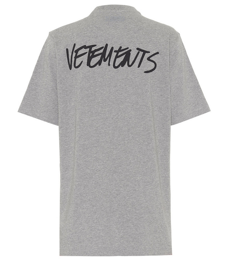 Vetements Logo cotton T-shirt in grey