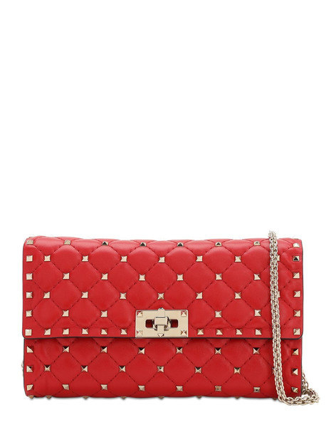 VALENTINO Spike Embellished Leather Clutch