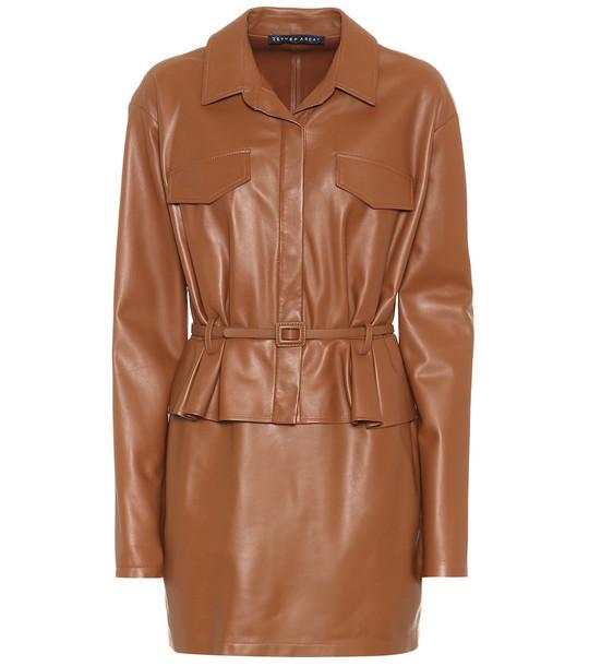 Zeynep Arçay Leather minidress in brown