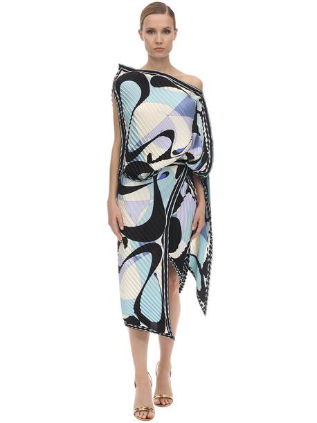 EMILIO PUCCI Off-the-shoulder Printed Silk Midi Dress in black / blue