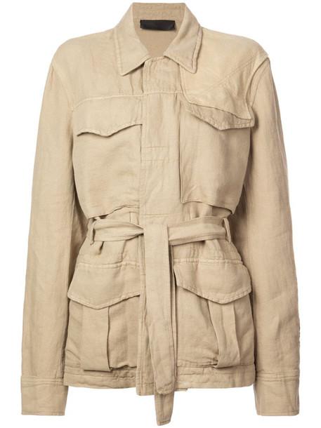 Haider Ackermann basic belted jacket in neutrals
