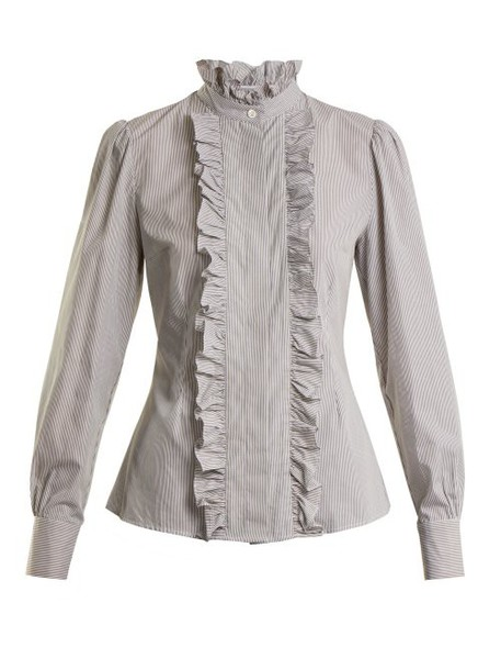 Alexachung - Striped Ruffled Trimmed Cotton Blouse - Womens - Grey Multi
