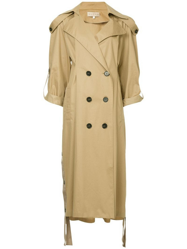 Ruban double-breasted trench coat in brown