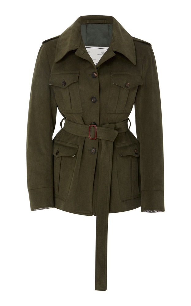 Giuliva Heritage Collection Sahariana Belted Cotton-Twill Jacket in green