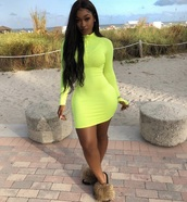 dress,girly,girl,girly wishlist,bodycon dress,bodycon,neon,green,zipper dress,zip,mini,mini dress,long sleeves