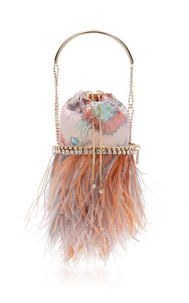 Rosantica Viola Feather-Embellished Jacquard Top Handle Bag in pink