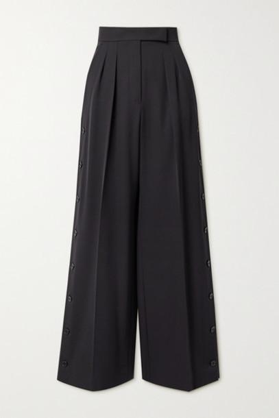 Max Mara - Kirsch Pleated Wool-twill Wide-leg Pants - Midnight blue