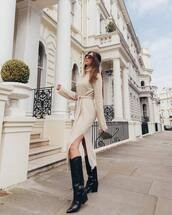 dress,turtleneck dress,knitted dress,slit dress,midi dress,black boots,knee high boots