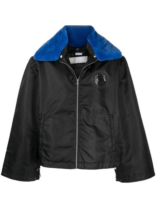 Random Identities contrast collar coat in black