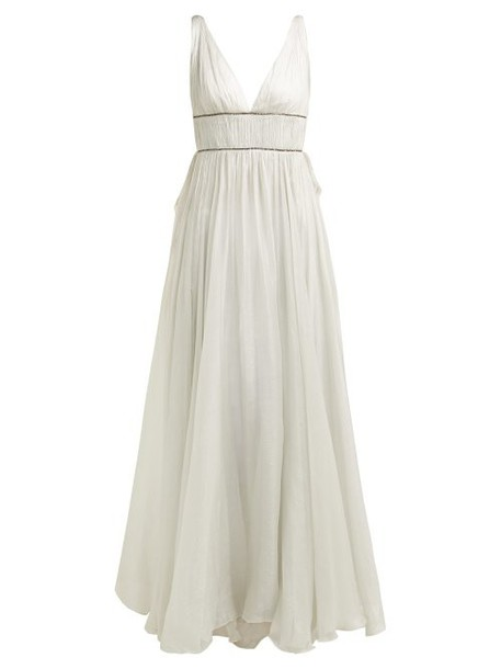 Maria Lucia Hohan - Sage Crystal Embellished Silk Gown - Womens - Silver